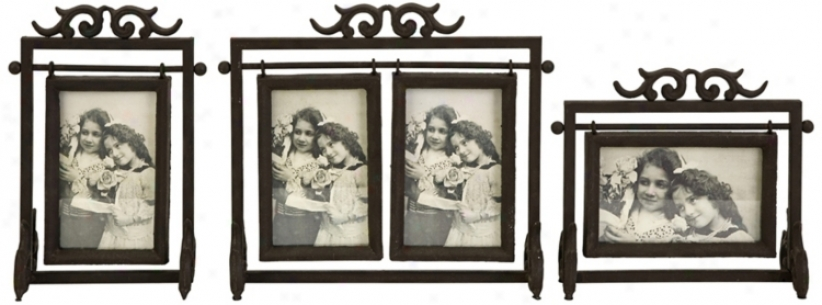 Set Of 3 Ruben Cast Iron 4x6 Photo Frames (t9646)