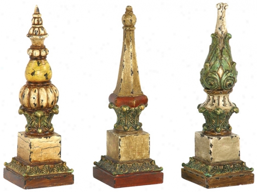 Set Of 3 Sphere Tip Finials (u6832)