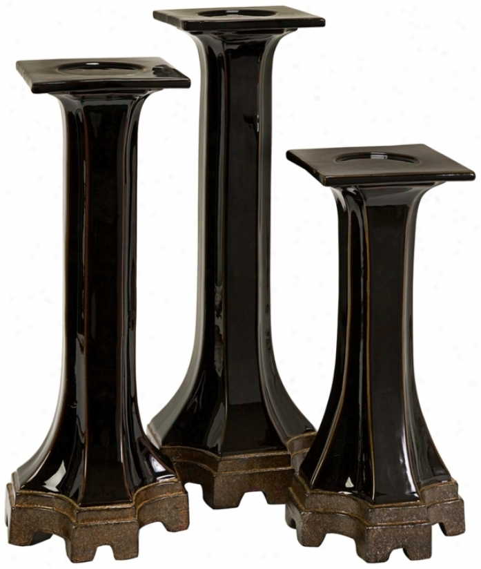 Set Of 3 Stepped Flange Candle Holders (u0019)