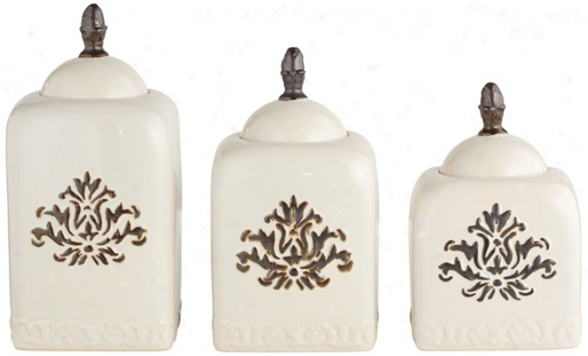 Set Of 3 White Ceramic Canisters With Flora lDetailing (r0510)