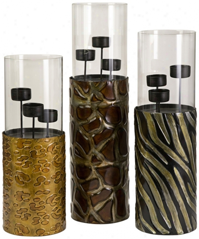 Concrete Of 3 Wrought Iron Animal Print Votive Candle Holders (t9559)