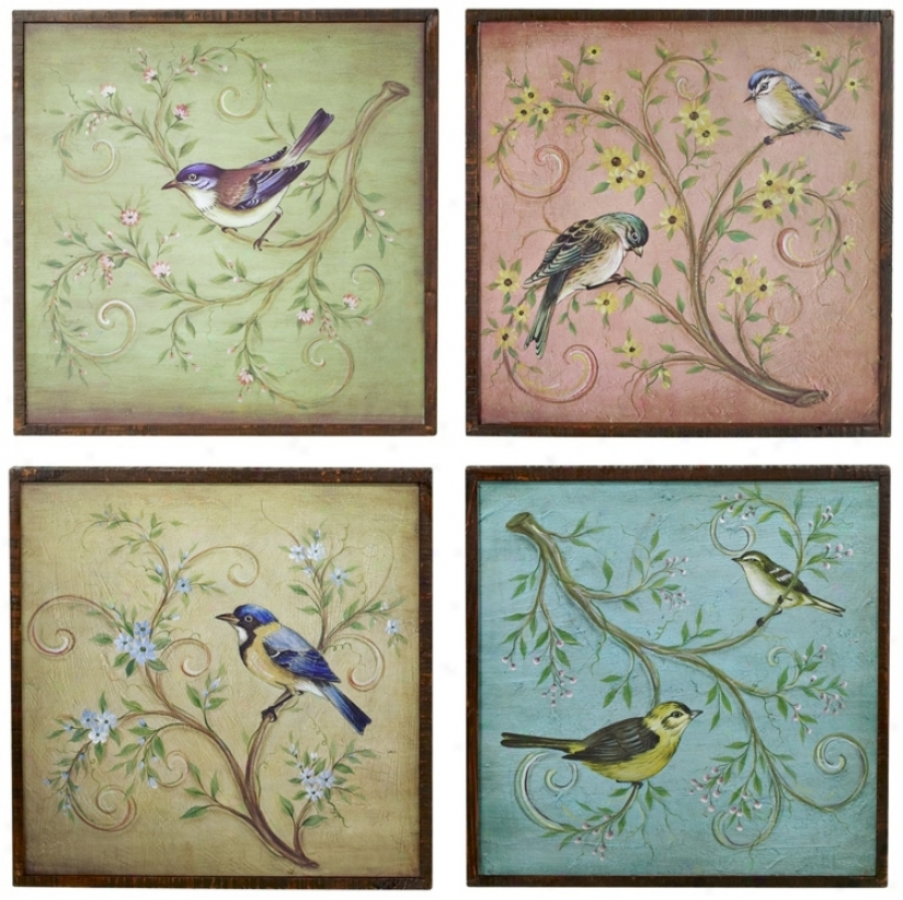 "Set Of 4 17"" Square Birds On A Tree Limb (n6889)"