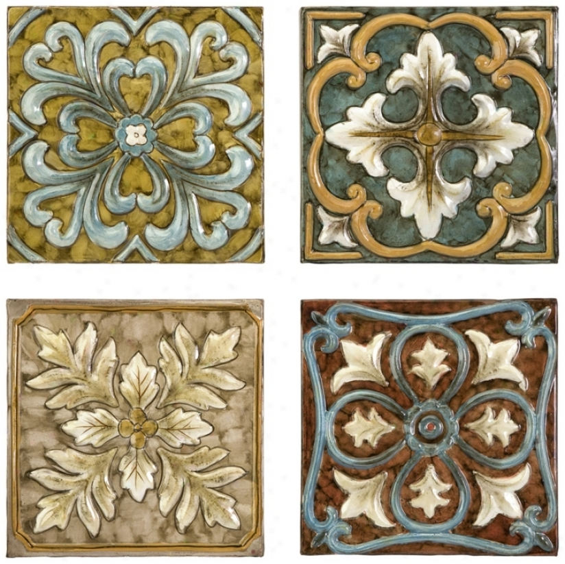 Set Of 4 Casa Medallion Tiles (n3468)