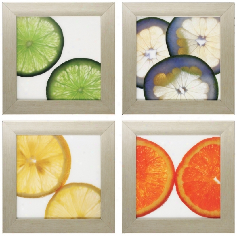 "Set Of 4 Colorful Citrus 16"" Square Kitchen Art Prints (v6631)"
