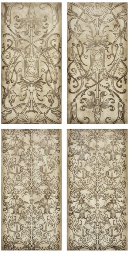 Write Of 4 Floral Toile Panels I/ii/iii/ivv Wall Art (n3179)