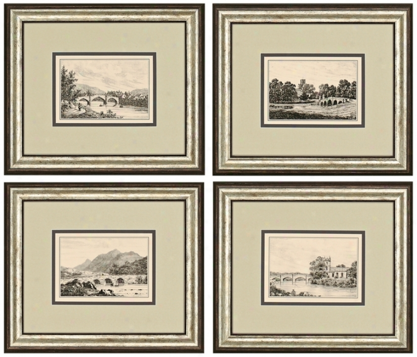 Set Of 4 Idyllic Bridges Framed Prints Wall Art (j3865)