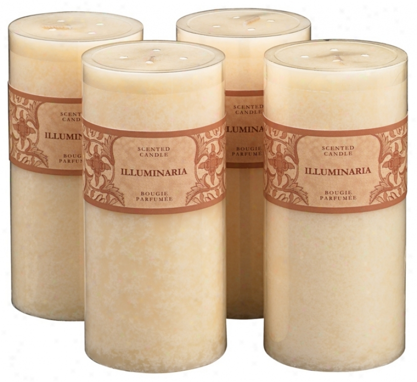 "Set Of 4 Jasmine Scented Mottled Ivory 6"" Pillar Candles (38200-38200-38200-38200)"