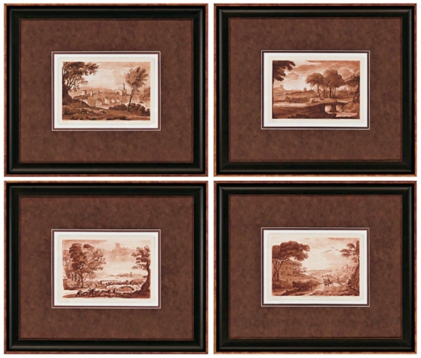 Set Of 4 Landscapes Ii Framed Walll Art (j3834)