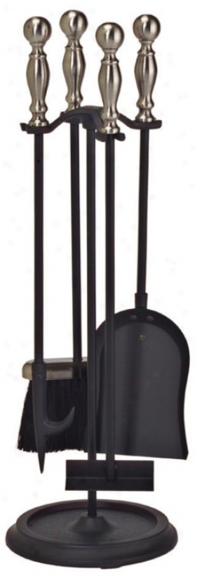 Set Of 4 Pewter And Black Wroughtt Iron Fireplace Tools (u9744)