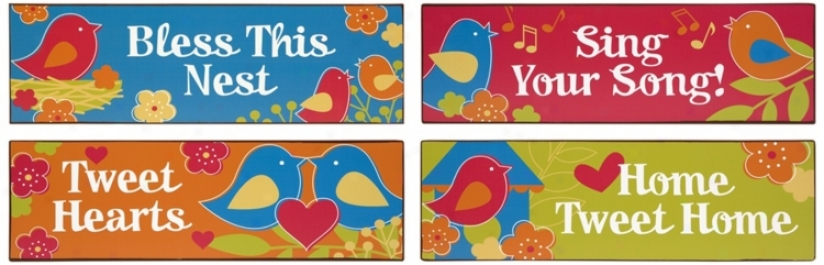 Set Of 4 Tweet Tweet Tin Signs (n3506)