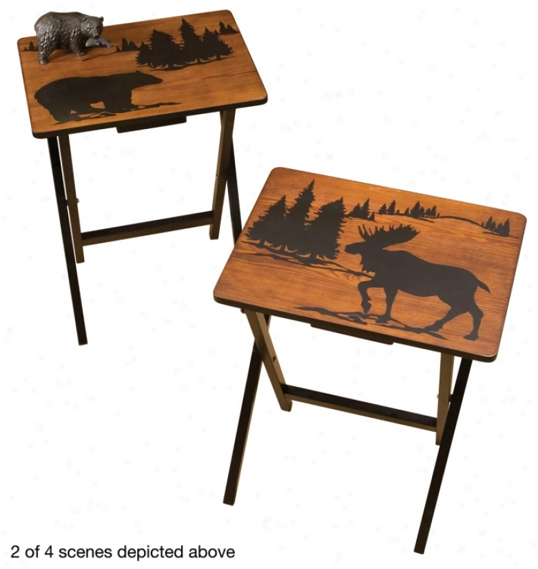 Set Of 4 Wilderness Foldable Side Tables (u4016)