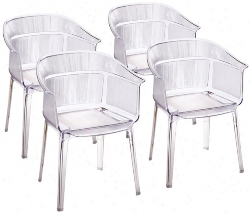 Set Of 4 Zuo Allsorts Transparent Outdoor Dining Chairs (t7510)
