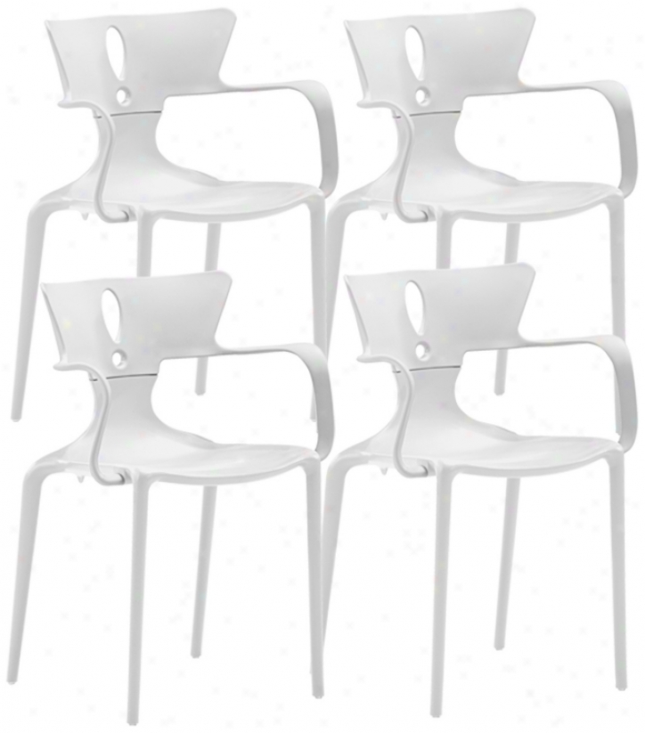 Set Of 4 Zuo Alter White Dining Chairs (v7547)