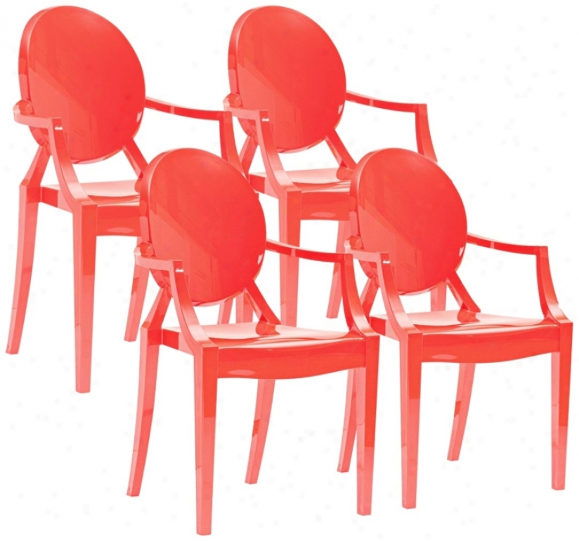 Set Of 4 Zuo Anime Red Dining Chairs (m7336)