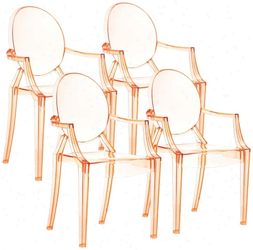 Set Of 4 Zuo Anime Transparent Orange Dining Chairs (m7338)
