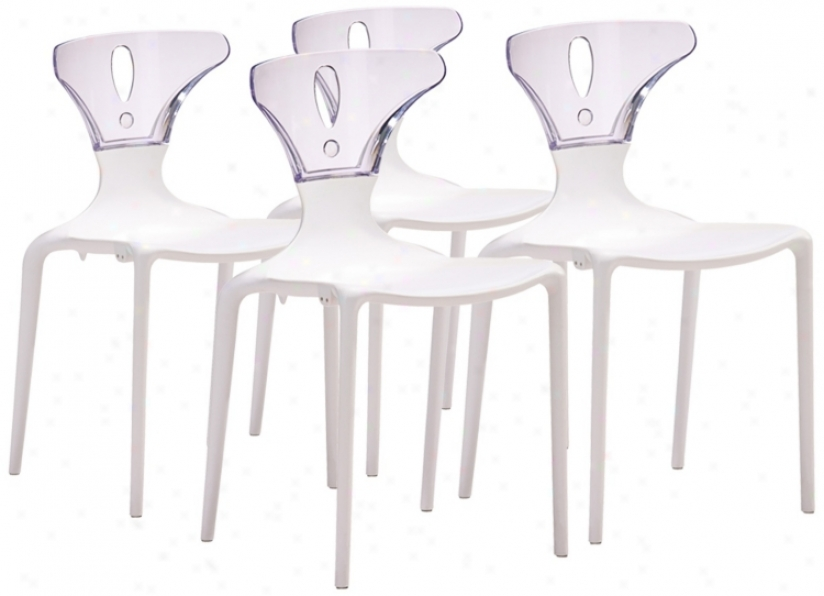 Set Of 4 Zuo Askew Clear And White Dining Chairs (v7546)
