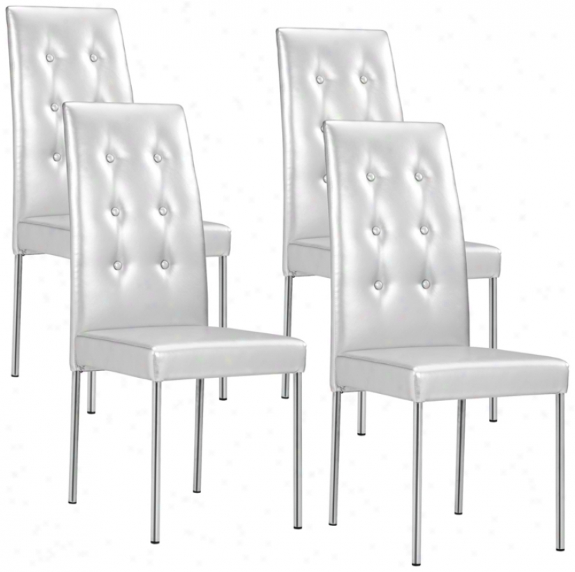 Set Of 4 Zuo Tuft Silver Glossy Leatherette Dining Chairs (t2412)
