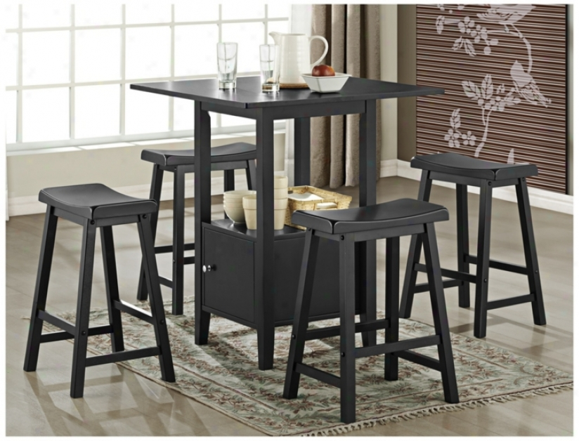Set Of 5 Black Saddle Wood Counter Height Storage Dining Set (u1889)