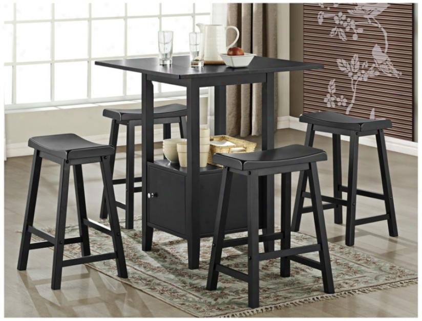 Set Of 5 Black Saddle Wood Counter Height Storage Dining Set (u1889)