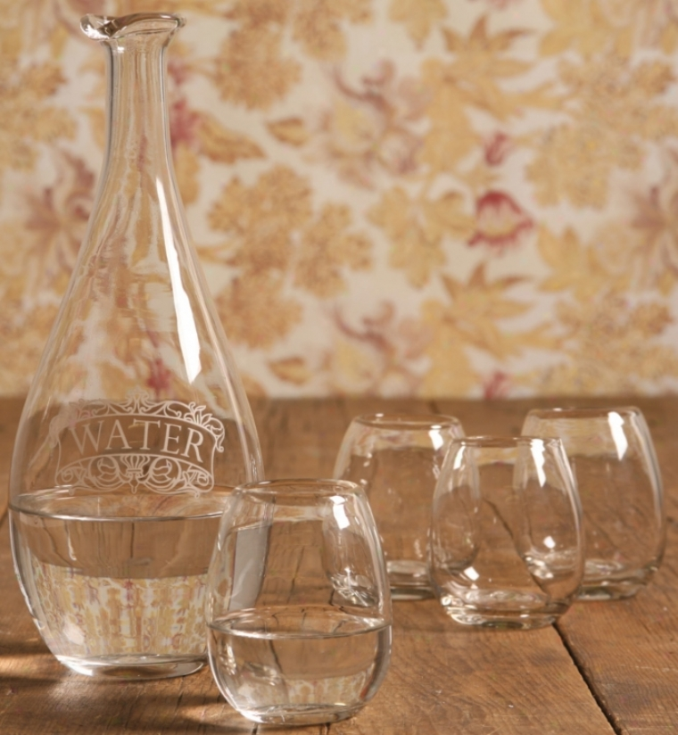 Set Of 5 Carfae With Glasses Barware (n2221)
