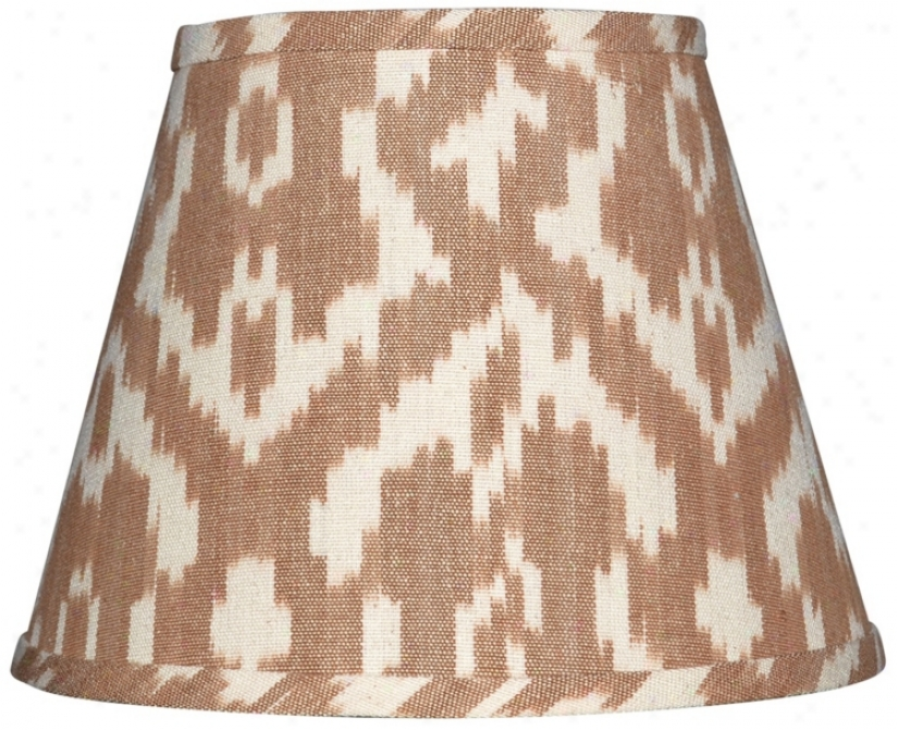 Set Of 6 Camel And Cream Ikat Shades 4x6x5.25 (clip-on) (w0179)