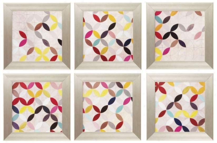 "Set Of 6 Collect 16"" Square Framed Wall Art (p2305)"