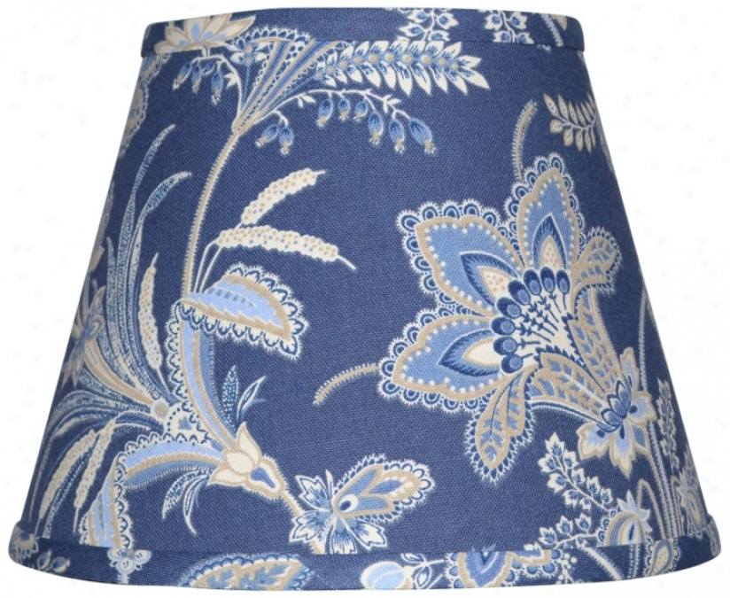 Set Of 6 Indigo Jacobean Lamp Shades 4x6x5.25 (clip-on) (w0239)