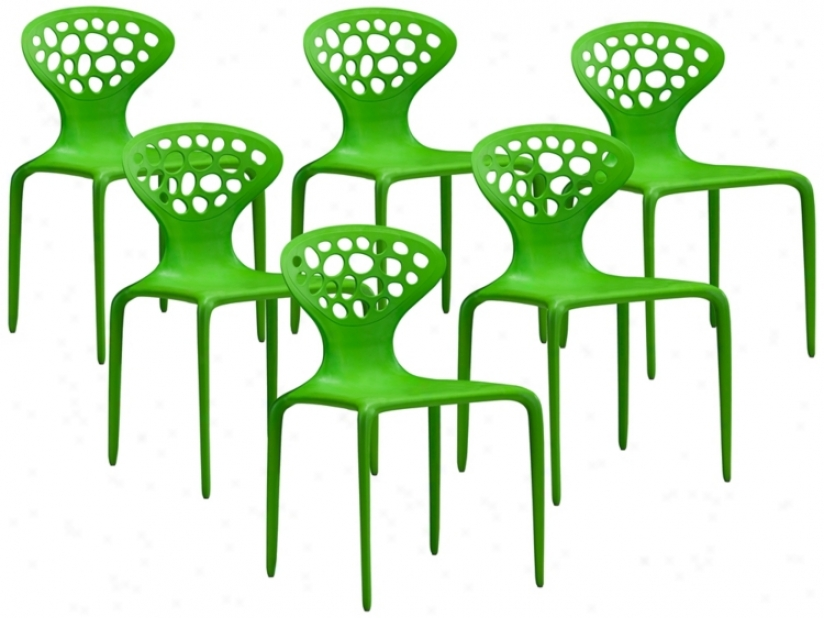 Set Of 6 Zuo Marzipan Green Chairs (t2395)