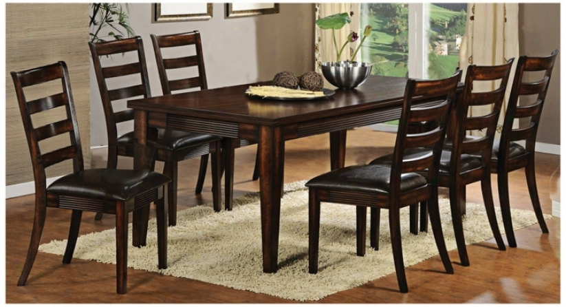 Set Of 7 Cherry Wood Dark Faux Leather Seat Dining Set (u1857)