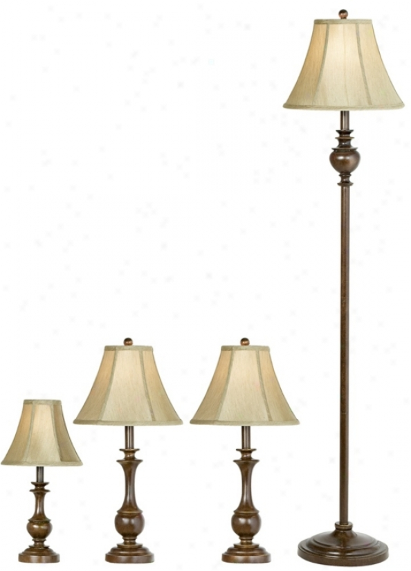 Set Of Four Traditional Font Table And Floor Lamps (29622)