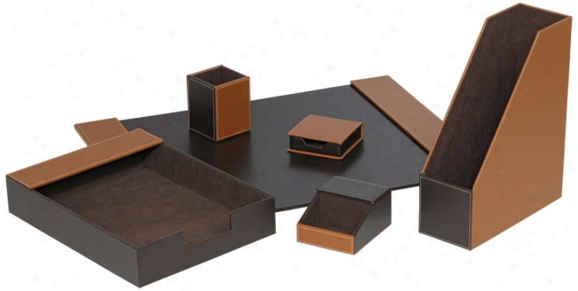 Set Of Six Coffee Brown Faux Leather Desk Set (m5319)