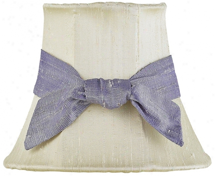 Set Of Three Lavender Bow Ivory Shades 3x5x4.25 (clip-on) (j2185)