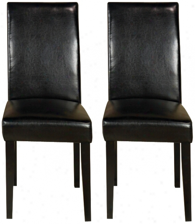 Set Of Two Black Leather Side Chairs (j4491)