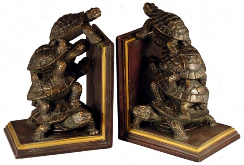 Set Of Two Bronze Turtle Bookends (f3940)