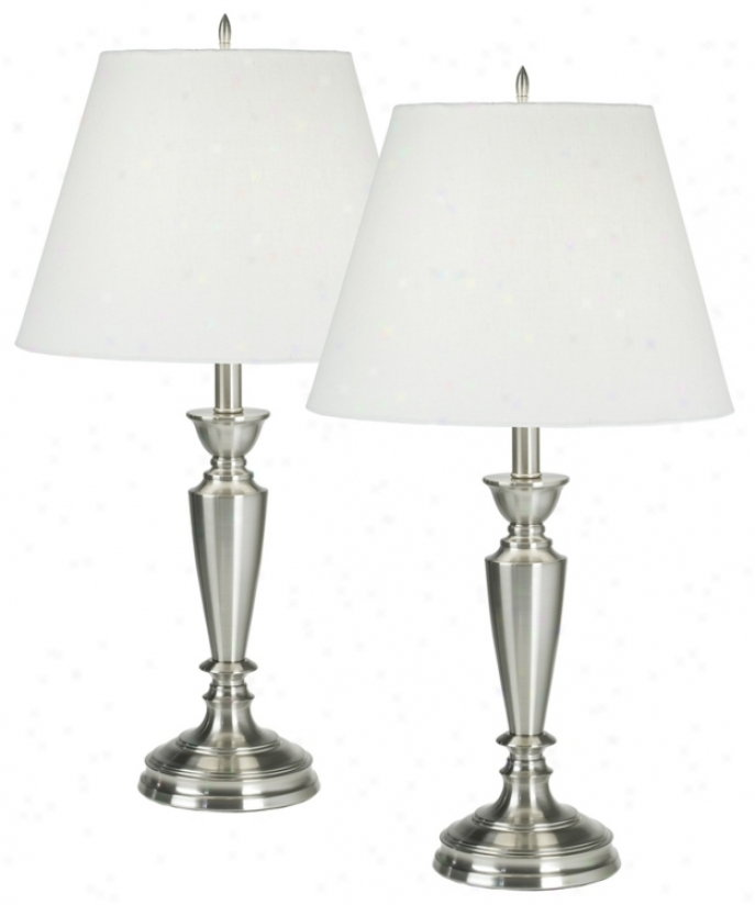 set of two brushed steel table lamps 94978 lighting. Black Bedroom Furniture Sets. Home Design Ideas