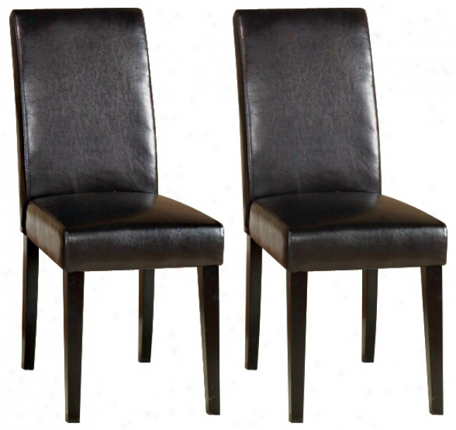 Set Of Two Dark Brown Leather Side Chairs (j4490)