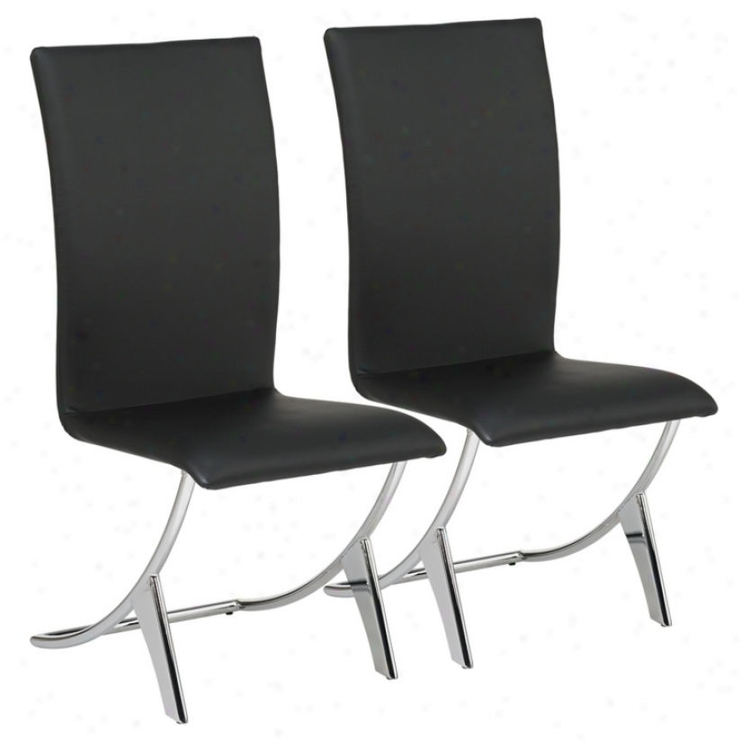 Set Of Two Delfin Black Leatherette Chairs (g3930)