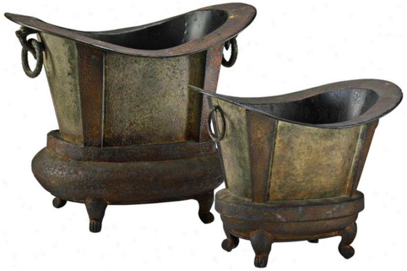 Set Of Two Footer Tub Smokey Grey With Rustic Iron Planters (v0935)