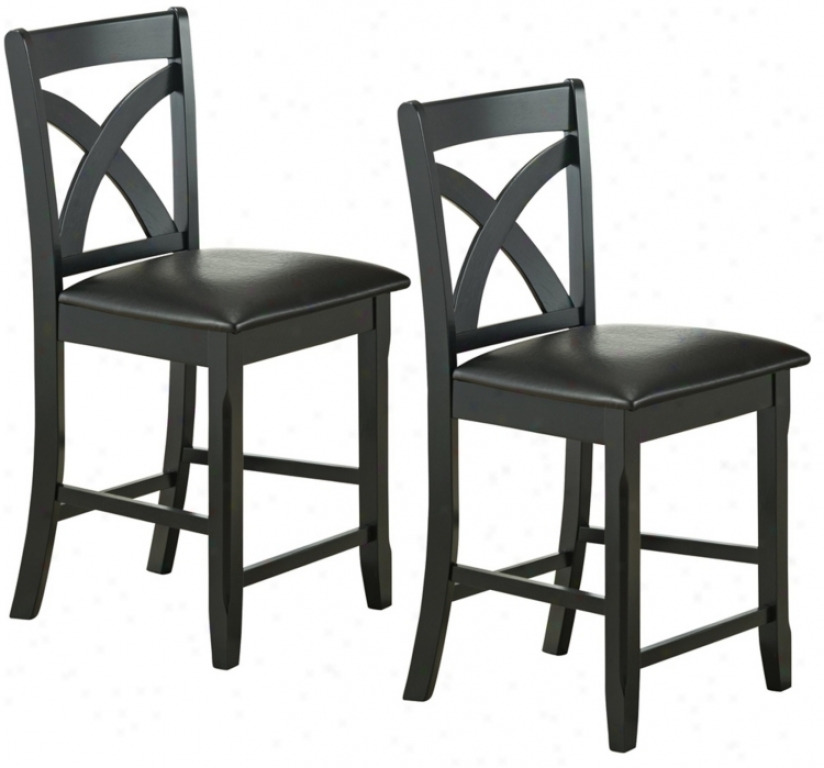 Set Of Two Kirwin Collection Counter Height Dining Chairz (p3878)