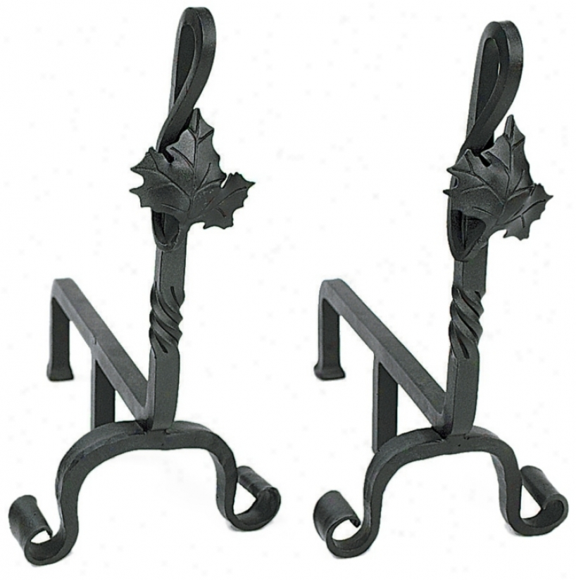 Set Of Two Lea fWrought Iron Andirons (l0012)
