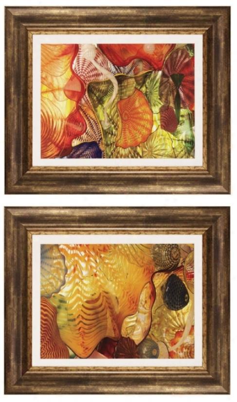 "Set Of Two Peach Season I And Ii 23"" Wide Framed Wall Creation of beauty (p2315)"