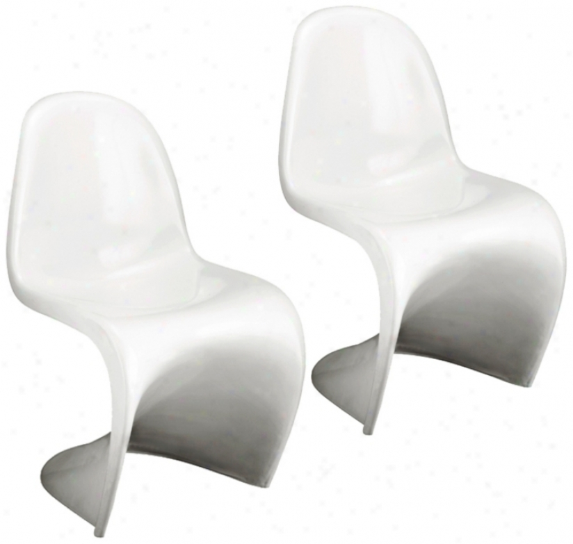 Set Of Two White S Chairs (g3998)
