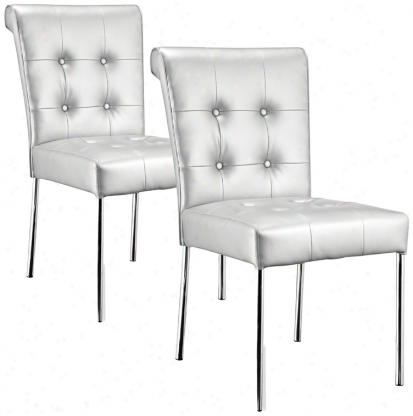 Set Of  Two    Zuo Fox Trot White Dining Chair (m7341)