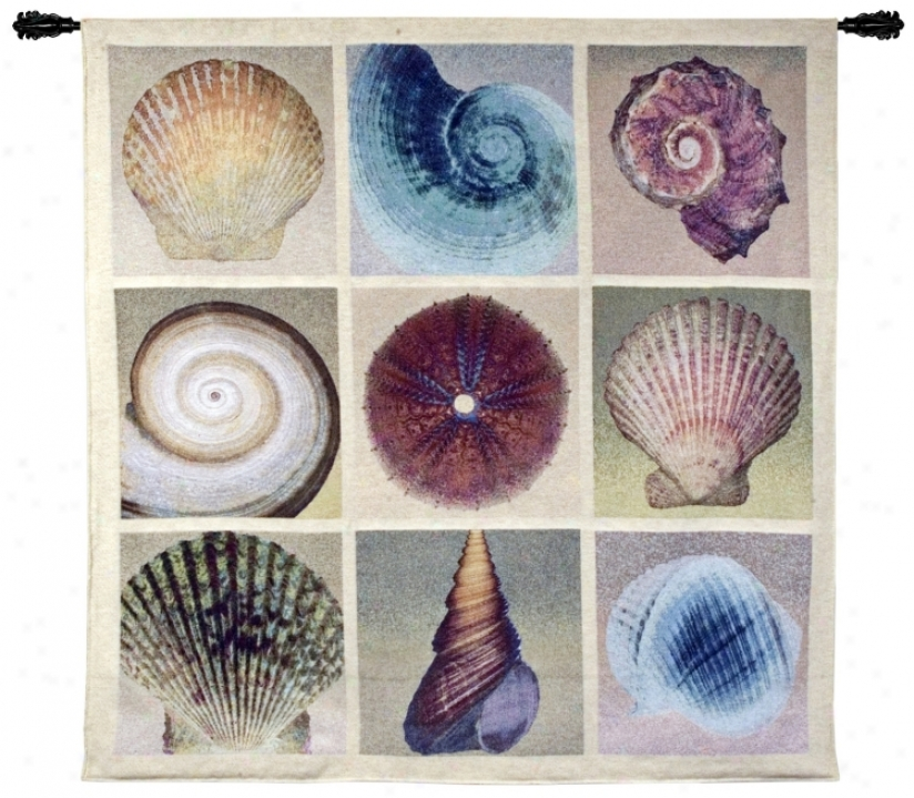 "Shell Collection 52"" Square Wall Hanging Tapestry (j9014)"