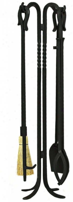 "Shepherd's Hook I 38 1/2"" High 5-piece Fireplace Tool Set (u9598)"