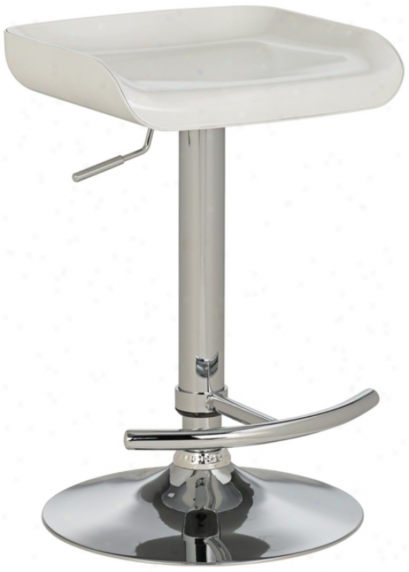 Shift Modern Counter Height Adjustable White Obstacle Stool (r4584)