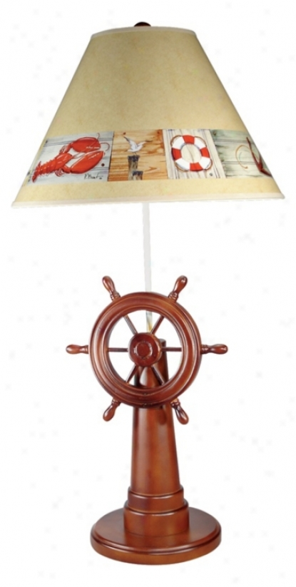 Ship's Wheel Nautical Table Lamp (g0609)