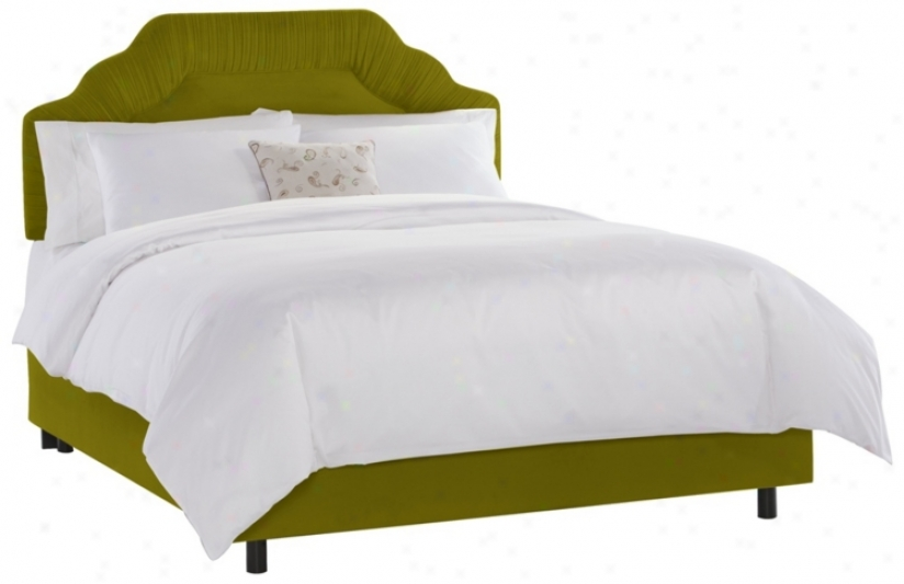 Shirred Headboard Apple Green Velvet Couch (king) (p2402)