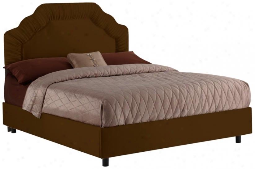 Shirred Headboard Chocolate Shantung Bed (king) (p2917)
