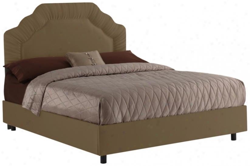 Shirred Headboard Khaki Shantung Bed (twin) (n7605)